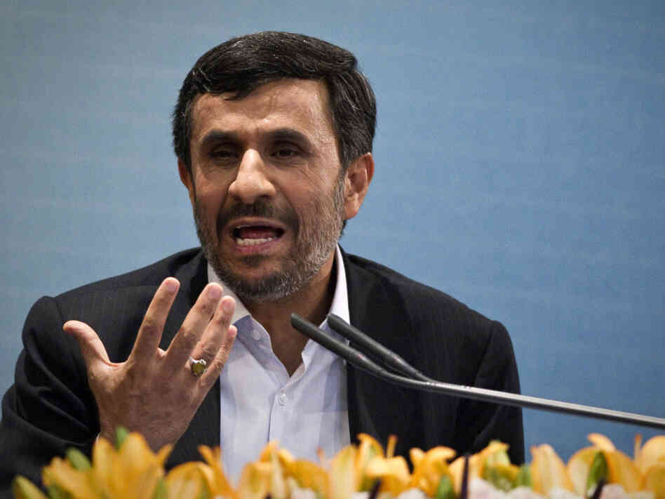 Iranian President Mahmoud Ahmadinejad speaks in Tehran on April 4.