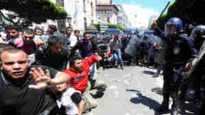 Clashes erupted between security forces and students demanding political change at a protest in Algeria's capital, Algiers, on May 2. Small protests in the city are quickly put down by well-equipped riot police.
