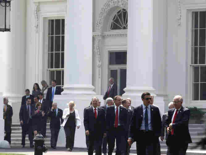 House Republicans leave the White House Wednesday after meeting with President Obama about the debt ceiling.