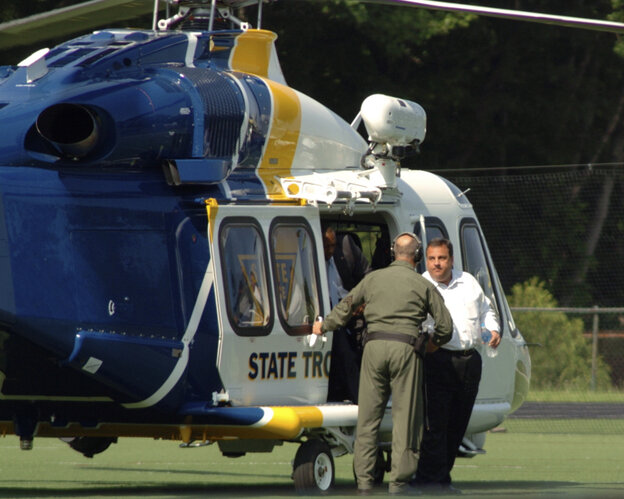 New Jersey Gov. Chris Christie arrives for his son's high school baseball game.