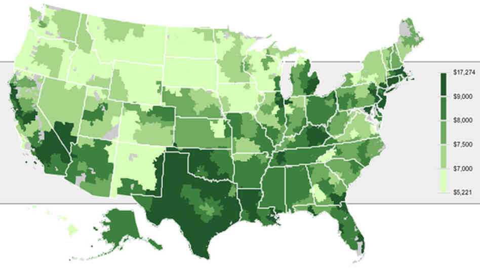 Click on the map to explore geographic variations in Medicare payments per enrollee.