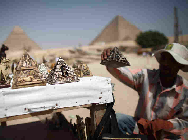 A street vendor prepares his wares at the Pyramids in Giza, Egypt, on May 28.