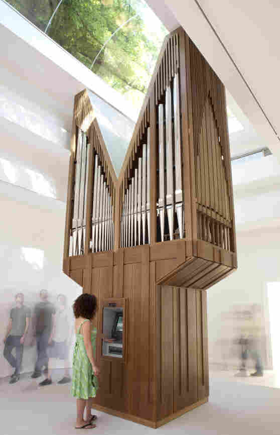 For the installation Algorithm, Allora & Calzadilla rigged a pipe together with a working ATM; the organ only plays music when a transaction is made.