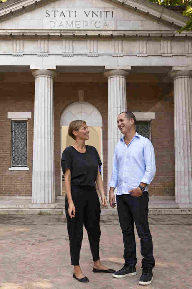 Jennifer Allora and Guillermo Calzadilla outside the U.S. Pavilion at the Venice Biennale.