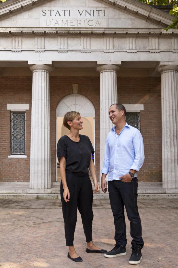 Jennifer Allora and Guillermo Calzadilla outside the U.S. Pavilion at the Venice Biennale.