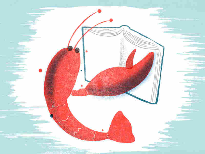 Illustration of a lobster reading a book.