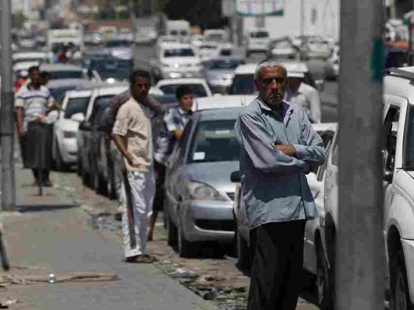 A long line for gas; Saturday (May 28, 2011) in Tripoli.