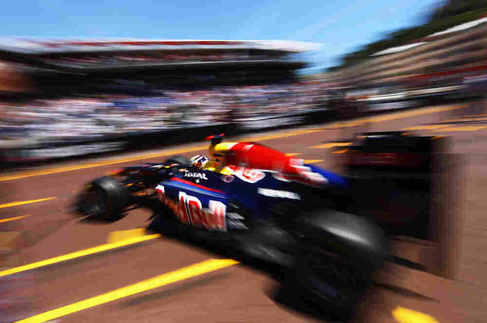 Sebastian Vettel of Germany and Red Bull Racing exits his team garage before the Monaco Formula One Grand Prix at the Monte Carlo Circuit in May.