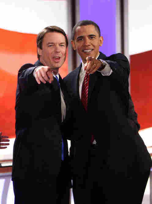 Edwards joined Barack Obama for the ABC/Facebook New Hampshire debates in Manchester, N.H., on Jan. 5, 2008.