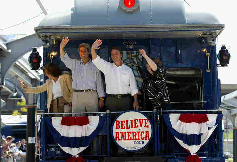 Teresa Heinz Kerry and Sen. John Kerry of Massachusetts join John and Elizabeth Edwards to embark on a cross-country train trip. They set off from St. Louis on Aug. 5, 2004.