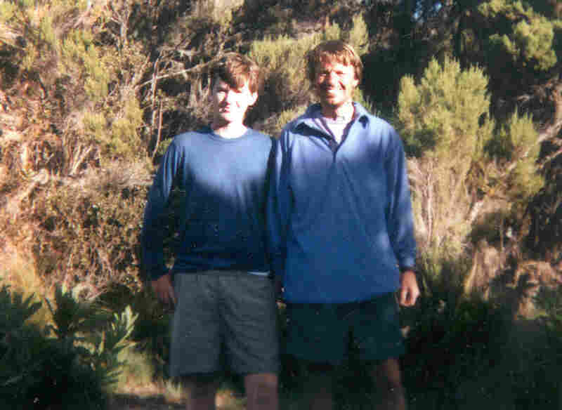 """Edwards poses with his eldest son, Lucius """"Wade"""" Edwards, on Africa's Mount Kilimanjaro in 1995. Less than a year after the  trek, Wade died. Wade had encouraged his father to go into politics."""