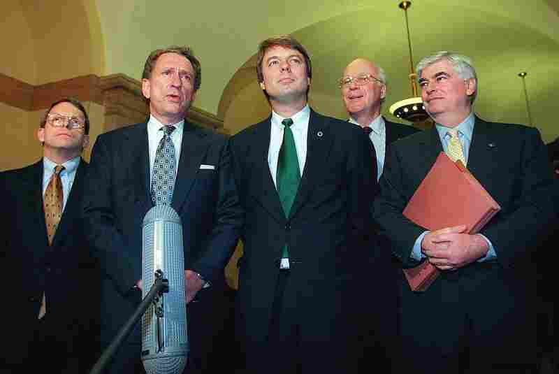 From left, U.S. Senators Mike DeWine, R-OH, Arlen Specter, R-PA, John Edwards, D-NC, Patrick Leahy, D-VT, and Christopher Dodd, D-CT meet with reporters.