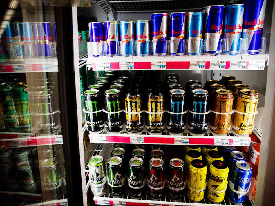 An assortment of energy drinks are offered at a drug store in Washington, D.C. Psychologists say they don't know enough about how caffeinated products like these affect teens and kids.