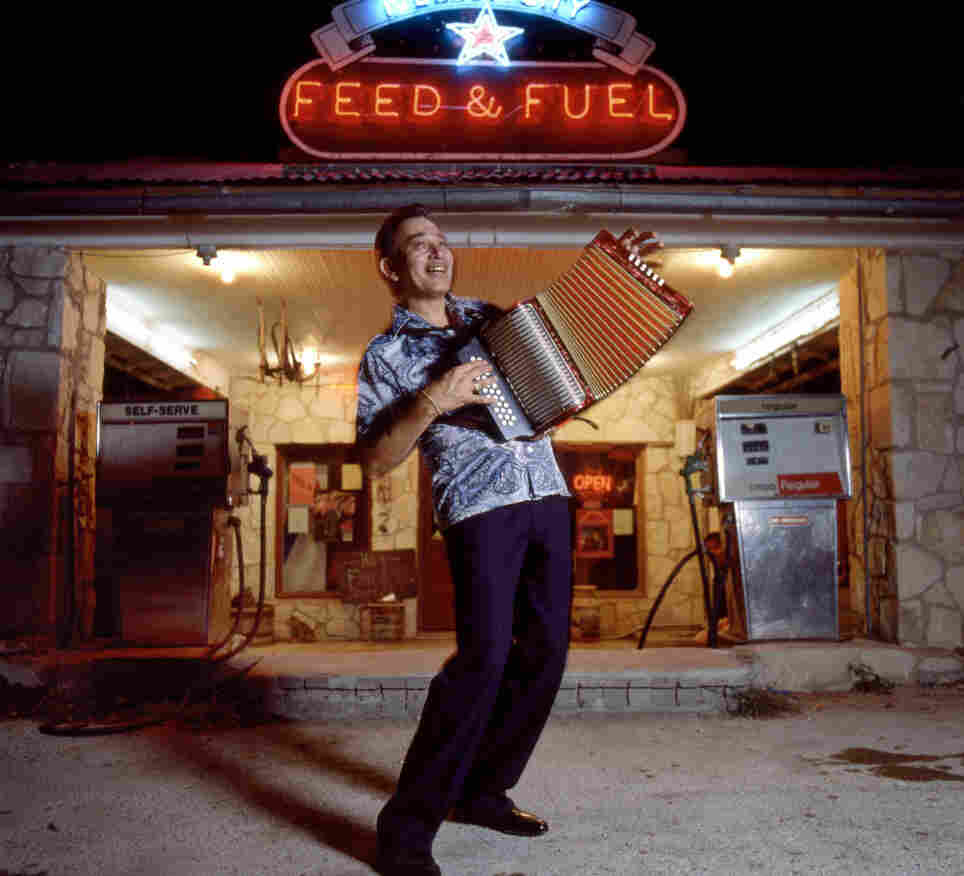 Flaco Jimenez is one of the foremost players of conjunto, a Tejano musical style that developed after German and Czech immigrants brought the accordion to Texas.