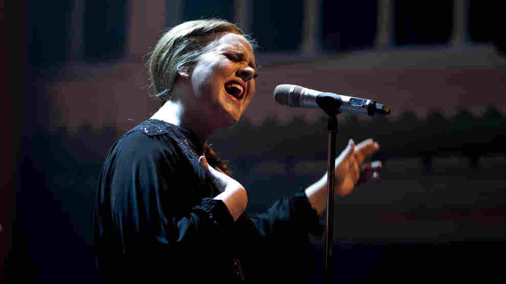 Adele on stage in Amsterdam in April.