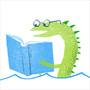 Illustration of a sea serpent reading.