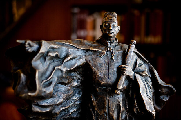 Chinese explorer Zheng He sailed on diplomatic and business missions in the early 1400s, reaching as far as northeast Africa. This sculpture of Zheng He is on display in the Asian Reading Room at the Library of Congress in Washington, D.C.