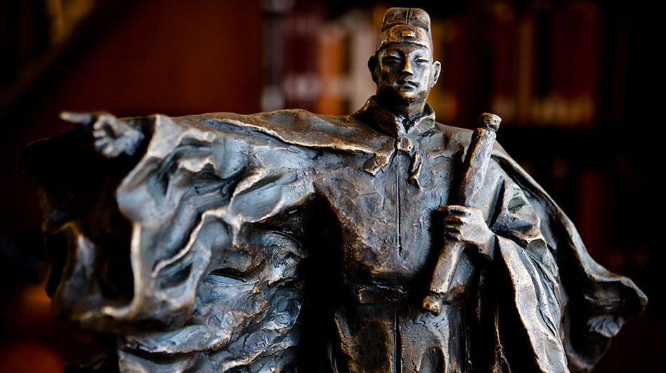 Chinese explorer Zheng He sailed on diplomatic and business missions in the early 1400s, reaching as far as northeast Africa. This sculpture of Zheng He is on display in the Asian Reading Room at the Library of Congress in Washington, D.C. (NPR)