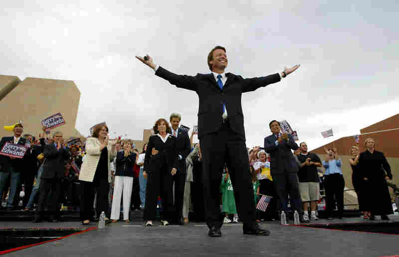 Edwards, hot on the campaign trail, greets supporters during a rally July 9, 2004 in Albuquerque, N.M.