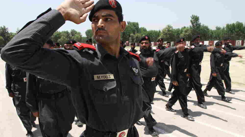 Frontier Constabulary soldiers drill on the parade ground at Shabqadar Fort. Their traditions date back to the 1920s, when the British founded this force to patrol what was then part of India.