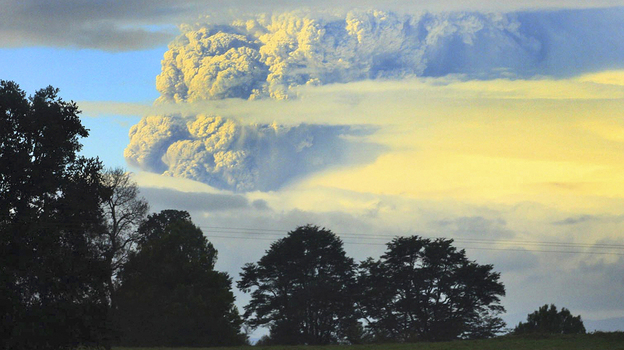 A column of smoke and ashes comes out from the Puyehue volcano, about 620 miles south of Santiago, Chile, on June 4.