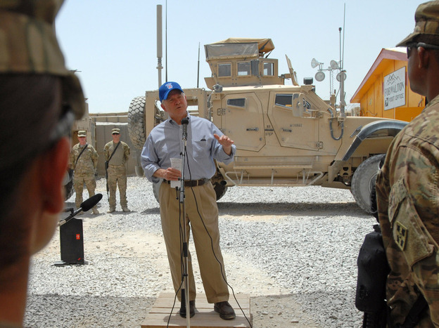 Defense Secretary Robert Gates has sought to raise rates on military health insurance paid by working-age retirees. This week, he spoke to troops at Forward Operating Base Walton in Kandahar, Afghanistan.