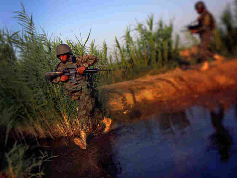 Afghan National Army Soldiers cross a stream while on a joint patrol with U.S. Marines in Northern Marjah, Helmand Province, Afghanistan.
