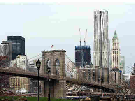The Woolworth building on the right in downtown New York.