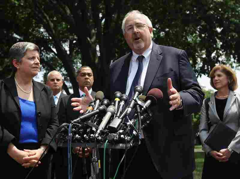FEMA Director William Craig Fugate speaks to the media as U.S. Homeland Security Secretary Janet Napolitano (left) and American Red Cross President and CEO Gail McGovern (right) listen after a meeting with President Obama at the White House earlier this month. Obama was briefed on the 2011 hurricane season.
