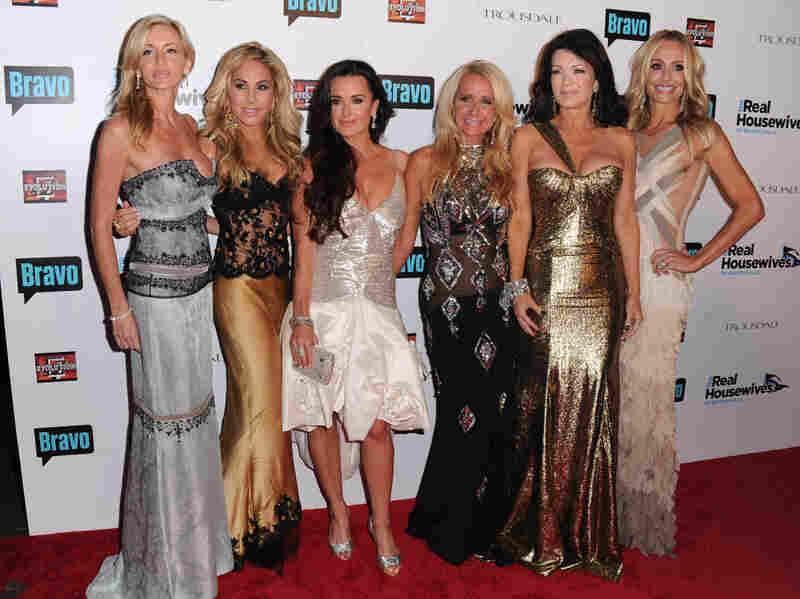 Cast members Camille Grammer (from left), Adrienne Maloof, Kyle Richards, Kim Richards, Lisa Vanderpump and Taylor Armstrong arrive at Bravo's The Real Housewives of Beverly Hills series party in Hollywood in 2010.