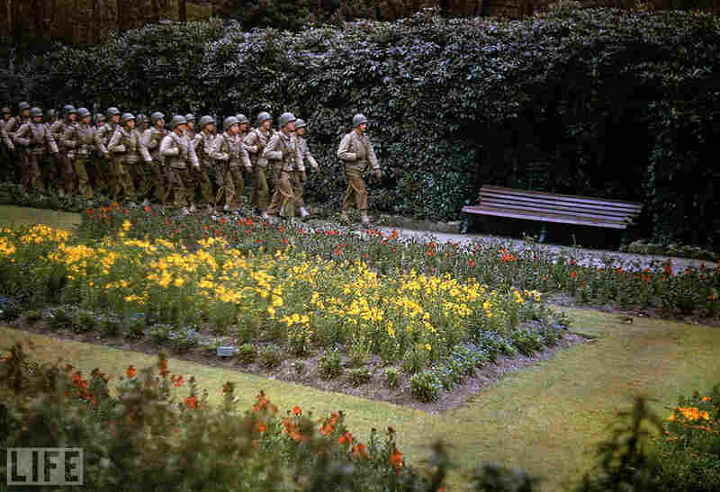 Rare color photos taken by Life photographer Frank Scherschel show quiet scenes in the days before and after D-Day in 1944; Scherschel did not record caption information for each individual image, but together they tell an unusually vivid story of a typically black-and-white era.