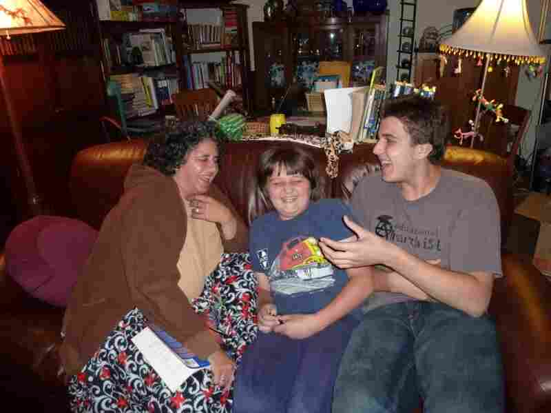 Sam (right) with his mother, Pam Tellew, and his younger brother Nicky.