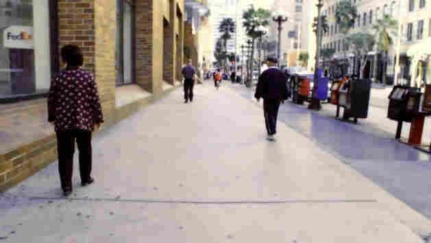 A couple walking in L.A..