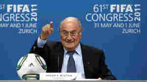 "FIFA President Joseph S. ""Sepp"" Blatter talks to media at a press conference after being re-elected during the 61st FIFA Congress on June 1 in Zurich."