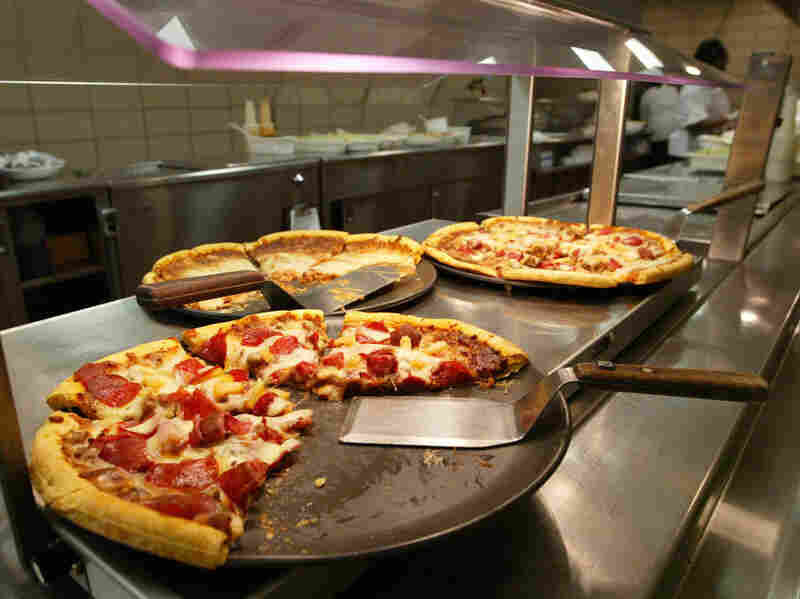 Pizzas in the lunchroom at a Chicago high school.