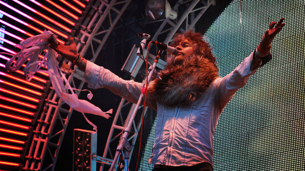 Wayne Coyne on stage performing with The Flaming Lips at Sasquatch Music Festival Memorial Day weekend.