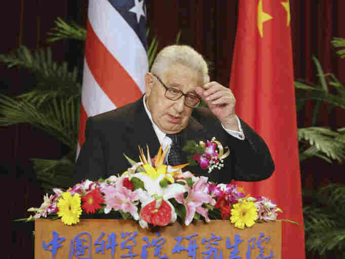 Former U.S. secretary of state, Henry Kissinger, delivers a speech at the Graduate University of Chinese Academy of Sciences on April 3, 2007 in Beijing, China. Kissinger joins Ted Koppel and host Neal Conan in today's second hour to discuss the challenges and opportunities of China today.