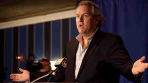Andrew Breitbart, who runs BigGovernment.com, speaks to the media before a press conference held by Rep. Anthony Weiner on Monday.