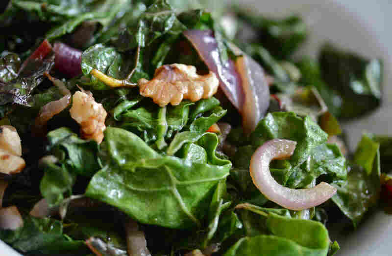 Wilted Greens With Caramelized Red Onion And Toasted Walnuts