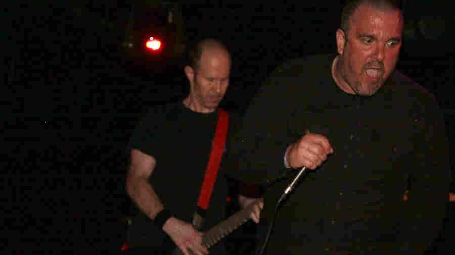 Ben Barnett (left) and Bob Otis of Dropdead perform at Maryland Deathfest 2011.