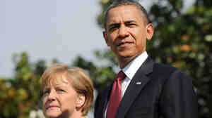 President Obama and Chancellor Angela Merkel during the official arrival ceremony for the German leader at the White House this morning (June 7, 2011).