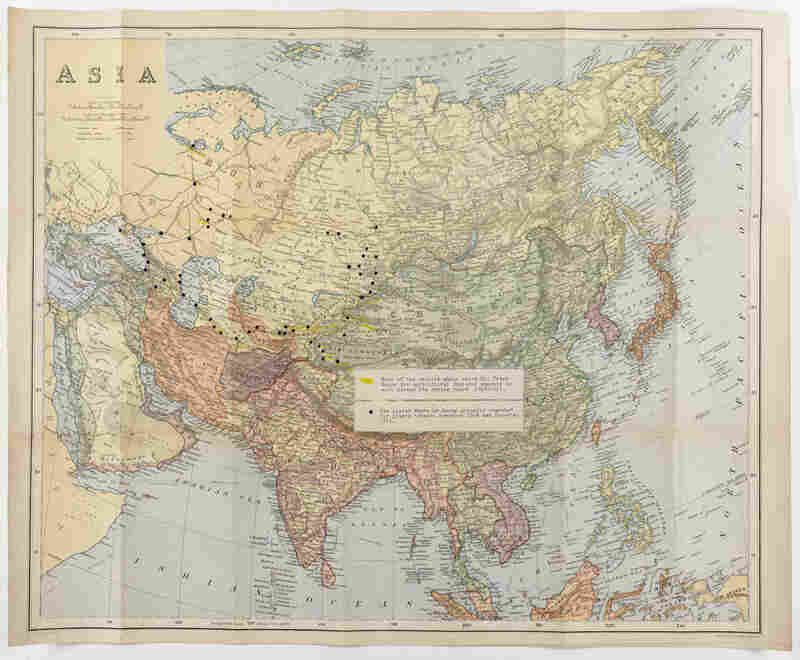 The black dots on this map of Asia show where Meyer searched for plants between November 1909 and November 1911.