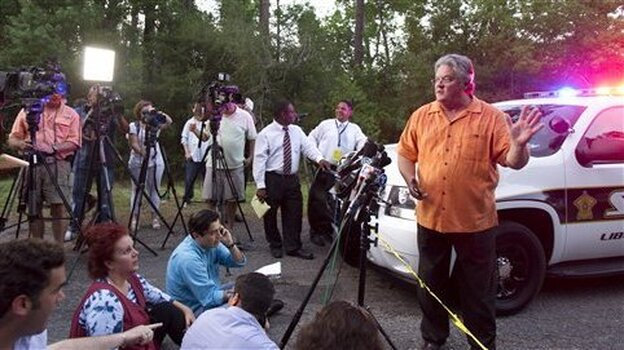 Liberty County Judge Craig McNair alerts the media that the authorities didn't find any dead bodies near a Hardin, Texas farmhouse on Tuesday (June 7, 20