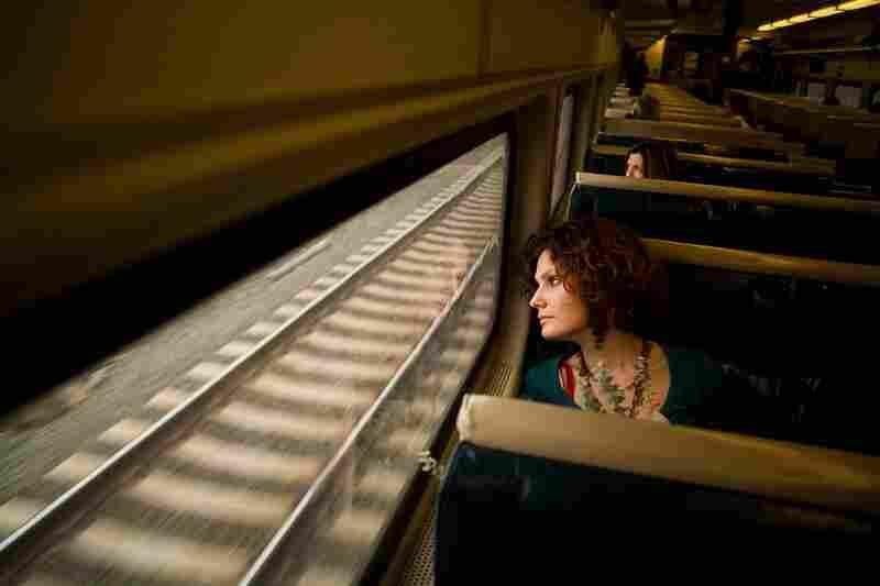 Anna riding the train.