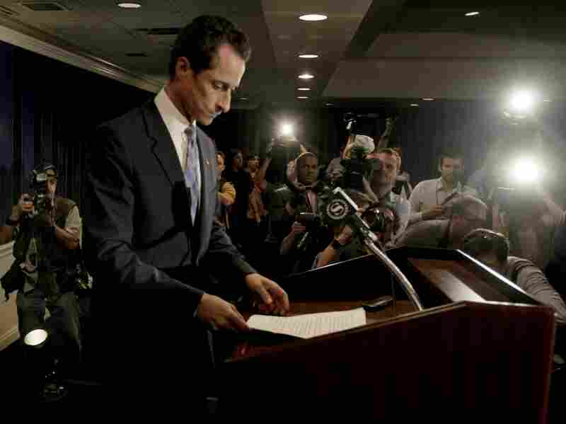 """U.S. Rep. Anthony Weiner arrives for a news conference in New York on Monday. After days of denials, an emotional Weiner confessed to sending a lewd photo of himself via Twitter to a young woman and admitted to other """"inappropriate"""" exchanges."""