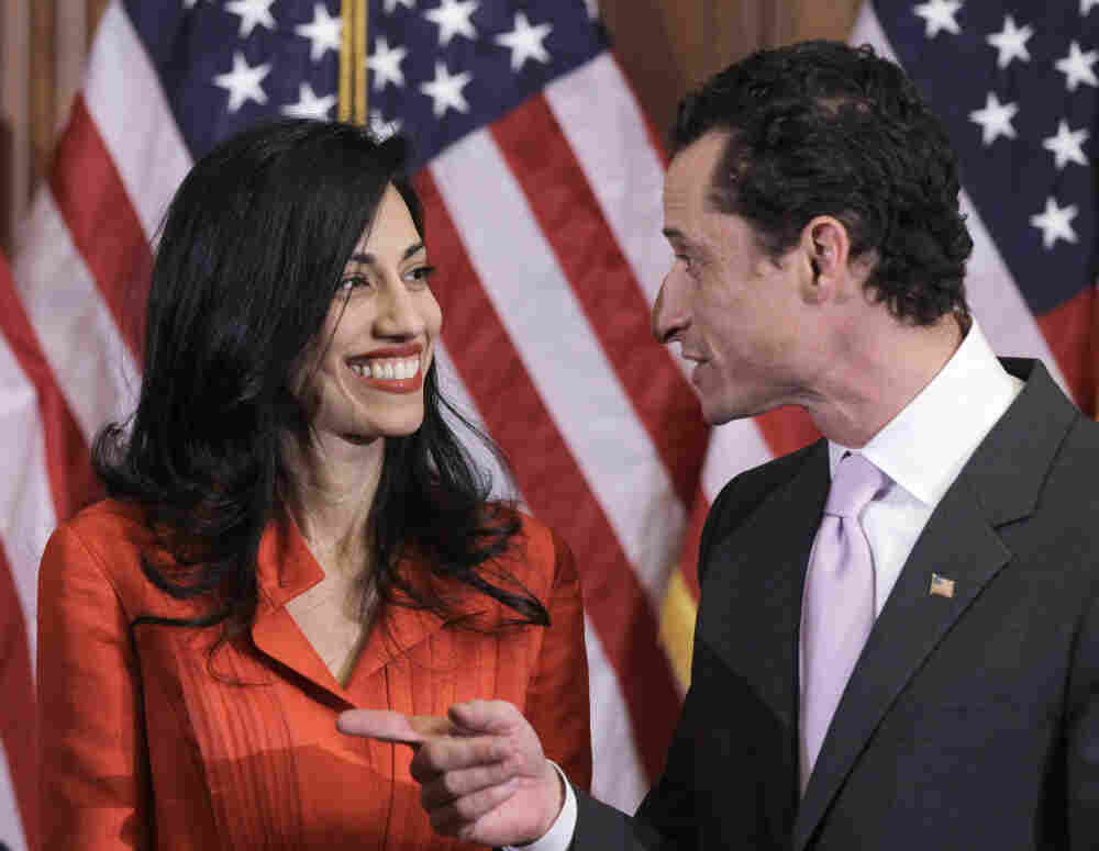 Rep. Anthony Weiner and his wife, Huma Abedin, after a ceremonial swearing in of the 112th Congress on Capitol Hill in Washington, last January.