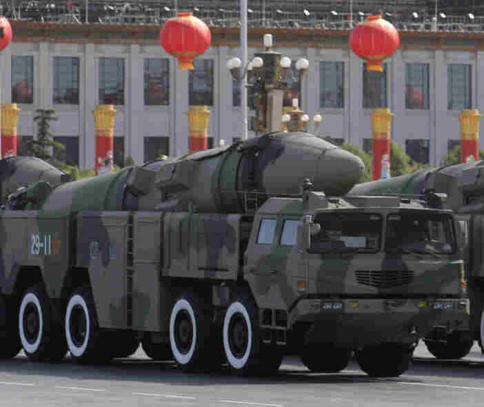 "Chinese military vehicles carry the Dong Feng 21D ""carrier killer"" missile during a military parade in Beijing on Oct. 1, 2009. The missile under development is designed to be launched from land to hit a carrier hundreds of miles away. ""Though still unproven (and some analysts say overrated) no other country has such a weapon,"" reports The Associated Press."