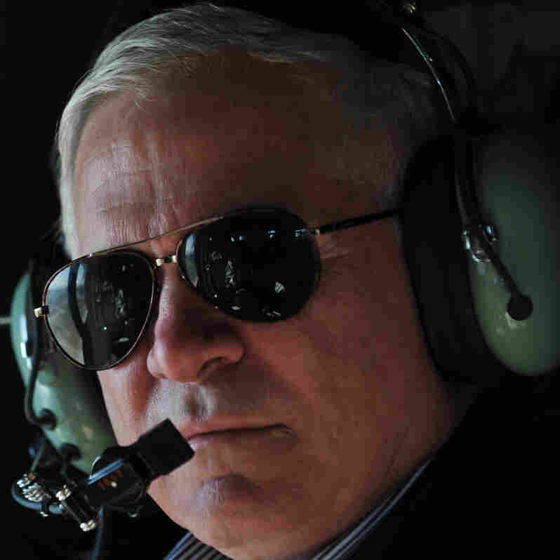 Defense Secretary Robert Gates, while on a Black Hawk helicopter flying above Kandahar province in Afghanistan on March 8, 2011.