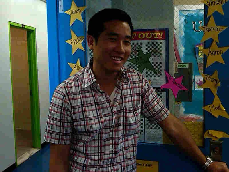 Third-grade teacher Juhyung Harold Lee is among 4,100 teachers at risk of losing their jobs.