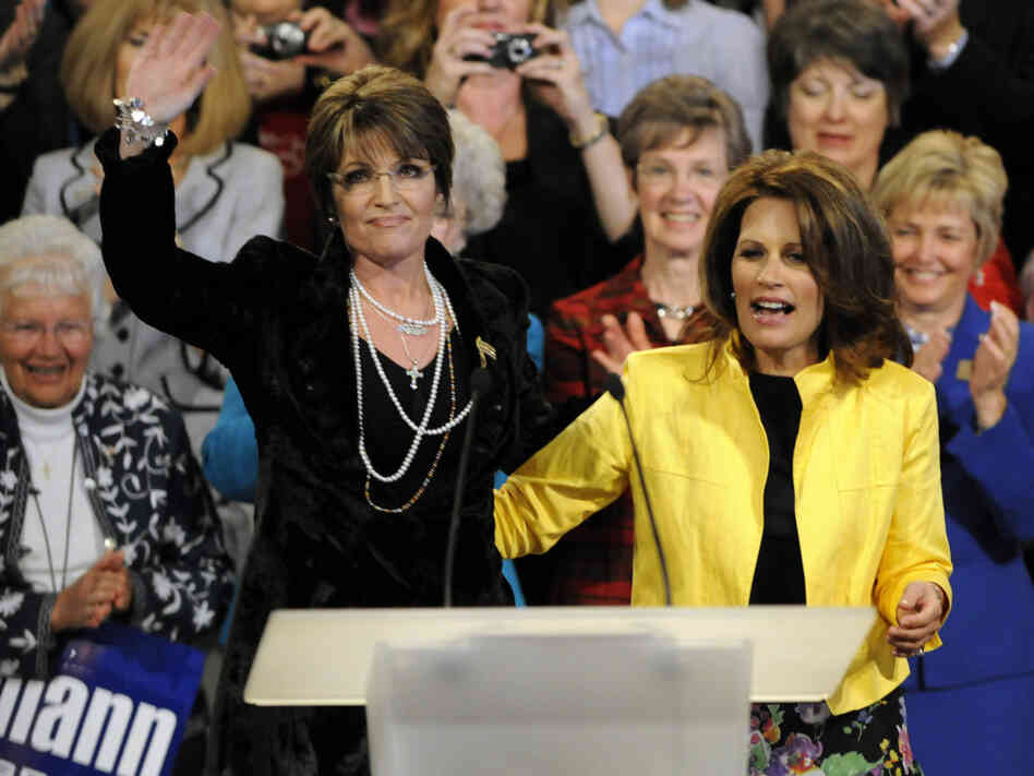 Sarah Palin and Rep. Michele Bachmann at a Minneapolis rally, April 2010.